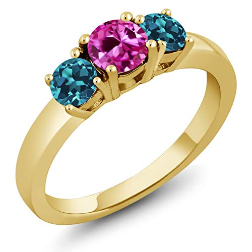 18K Gold Plated Silver 1.21 Ct Pink Created Sapphire London Blue Topaz Ring (Size 8)