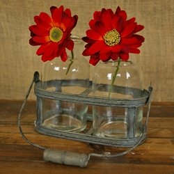 Rustic Basket With 2 Glass Jars, Distressed Metal And Wooden Handle