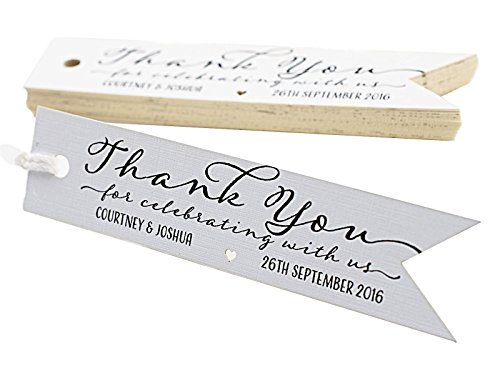 Summer-Ray 50pcs Personalized Mini Pennant Flag White Wedding Favor Gift Tags Thank You for Celebrating with Us by Summer-Ray.com