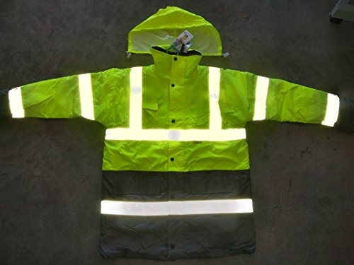 r oxford PU Waterproof Fluorescent Hi-Vis Jacket High Viz Visibility Security Reflective Cotton-padded Work Jacket Rain Coat Safety Parka (XL) (Reflective Rain Parka)
