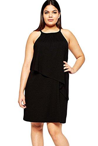 Nueva mujer Plus tamaño negro sin mangas capa camiseta de manga corta vestido Vestido Casual noche fiesta wear plus size XXXL UK 16–�?8EU 40–�?2