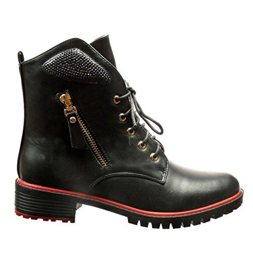 Angkorly Damen Schuhe Stiefeletten - Biker - Strass - Reißverschluss - Metallisch Blockabsatz 3.5 cm Schwarz