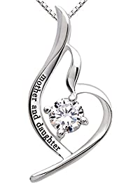 Jewelry Sterling Silver Mother and Daughter Cubic Zirconia Pendant Necklace