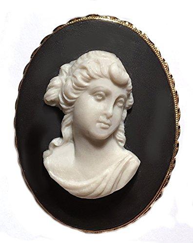 18k Brooch Cameo (Diana Cameo Brooch Pendant Master Carved, Sterling Silver 18k Gold Overlay Italian Ceramic)