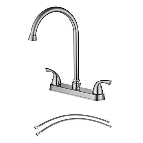 PARLOS 8 Inch Kitchen Faucet Double Handles High Arch Swivel Spout with Water Supply Lines, Brushed Nickel,14137