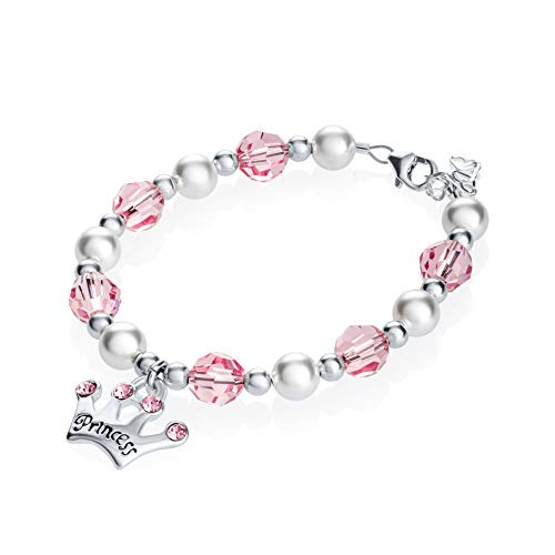 Luxury White Simulated Pearls Pink Pave Beads and Crystals with Sterling Silver Princess Crown Charm Child Girl Bracelet (B139_L)