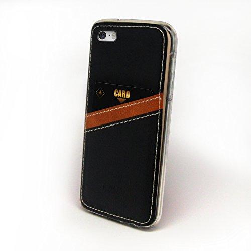Caso iPhone 7, Cellto [Monedero Delgado] [Delgado] cubierta de la caja protectora de silicona resistente a arañazos del gel de goma suave de la piel de Apple iPhone 7 - Marrón Delgada Monedero - Negro