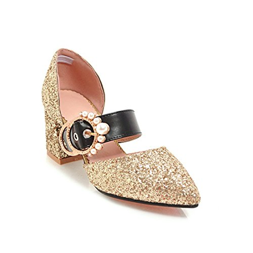 a i punta scarpe heeled lustrini sandali sandali golden fibbie 36 signore sandali elegante i donne e sandali violento high 4vnHq