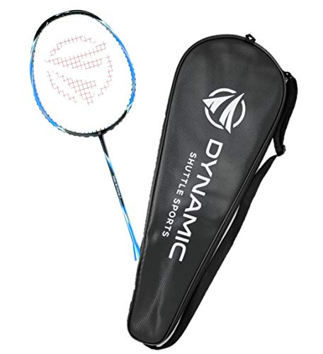 Dynamic Shuttle Sports Titan G-Force 7 Professional Carbon Fiber Badminton Racquet, Lightweight Badminton Racket Including Cover (Blue)