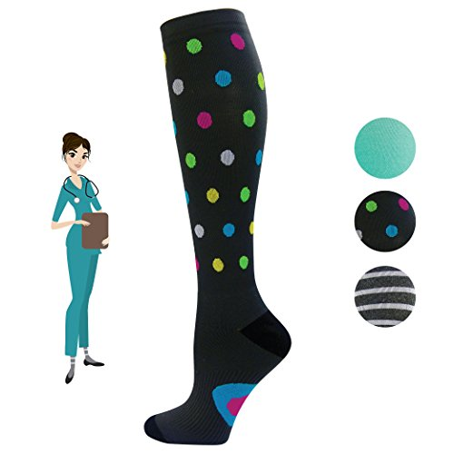 Stockings Nurses (Nurse Compression Socks for Women | Super Soft & Comfortable for Long Days | Graduated 15-20 mmHg Knee High Stockings | Best for Anti Fatigue & Pain Relief | Cute Nursing Leggings & Tights Size 8-11.5)