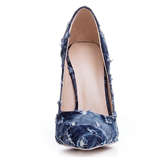 COOLCEPT Mujer Moda Denim Mezclilla Tacon de Aguja Puntiagudo Cerrado sin Cordones Bombas Zapatos Dark Blue