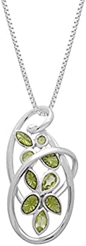 5/8 ct Peridot Swirl Pendant with Enamel