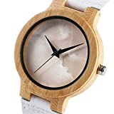Watch Special Cloudy Overcast Style Dial Elegant White Strap Unisex Wristwatches Women Lady Man Clock