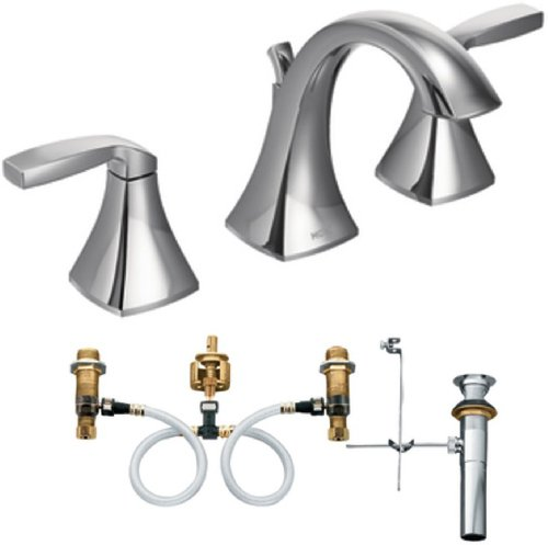 Moen T6905-9000 Voss Two-Handle High Arc Bathroom Faucet with Valve, Chrome by Moen