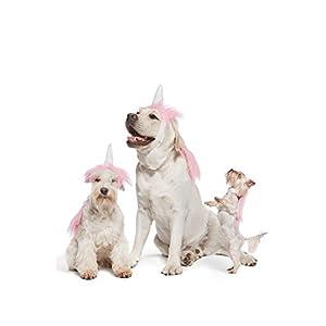 Pink Unicorn Costume For Dogs Pups Mane & Horn Headdress Wig Pet Dress Up Party (Medium, Pink)