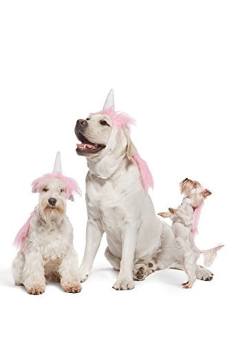 Pink Unicorn Costume For Dogs Pups Mane & Horn Headdress Wig Pet Dress Up Party (Medium, Pink)
