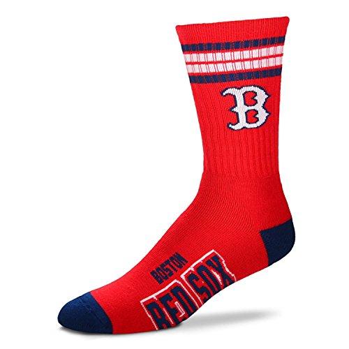 (Boston Red Sox 4 Stripe Crew Socks Size Medium 5-10)