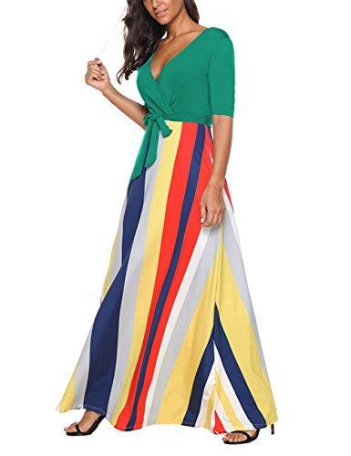 a autunno stampa S dress XXL mezza blu manica spiaggia abito moda Verde maxi SELUXU Estate scuro sera Donna scollo lungo V Vintage xgqvvBX