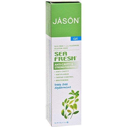 Jason Natural Cosmetics Sea Fresh Plus CoQ10 Fluoride Gel Toothpaste, Deep Sea Spearmint, 6 Ounces (Pack of 24)