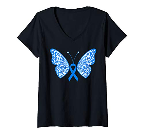 Womens Blue Awareness Ribbon Tribal Tattoo Wings Butterfly Design V-Neck T-Shirt ()