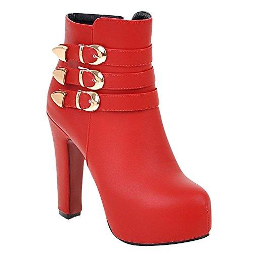 Mee Shoes Damen high heels Reißverschluss Stiefel Rot