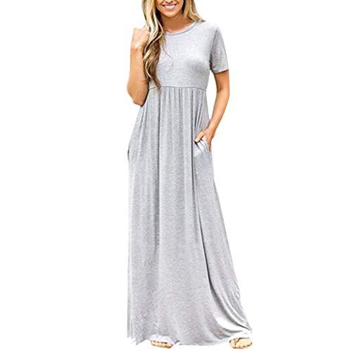 ★QueenBB★ Women's Casual Loose Pocket Long Dress Short Sleeve Split Maxi Dresses with Pockets Gray