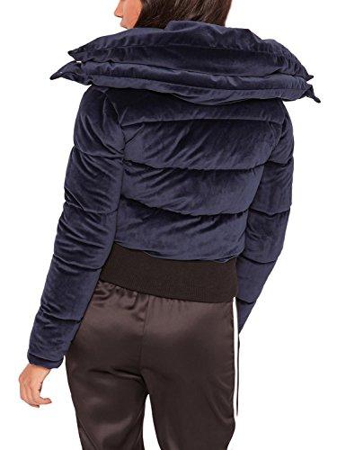 Femmes Satin Cultures Simplee Matelassés Matelassée Zip Les Navy Vêtements Parka Bleu Manteau Veste Court De dTWnB1