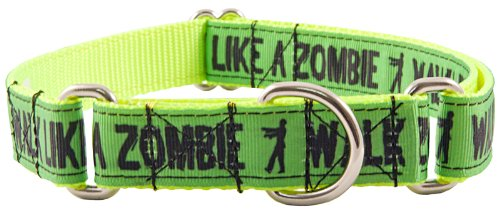 Country Brook Design   Green Walk Like a Zombie Ribbon Martingale Dog Collar - Large Limited Edition