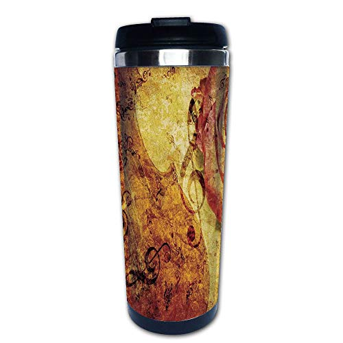 Stainless Steel Insulated Coffee Travel Mug,Background with Violin Rose and Music Note Retro,Spill Proof Flip Lid Insulated Coffee cup Keeps Hot or Cold 13.6oz(400 ml) Customizable ()