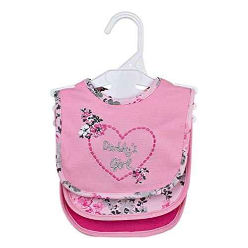 Cudlie Buttons & Stitches Baby Girl 3 Pack of Bibs with Loop Closure, Daddys Girl