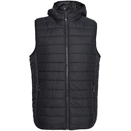 Gary Com Mens Full Zip Up Closure Puffer Vest Lightweight Padding Packable Jacket Black ()