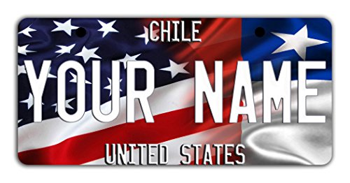BleuReign(TM) Personalized Custom Name Mixed USA and Chile Flag Bicycle Bike Moped Golf Cart 3