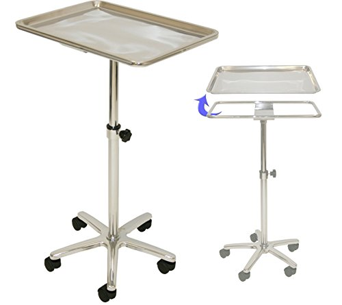 (InkBed Extra Large Chrome Steel Single-Post Mayo Instrument Stand with Lift Out Work)