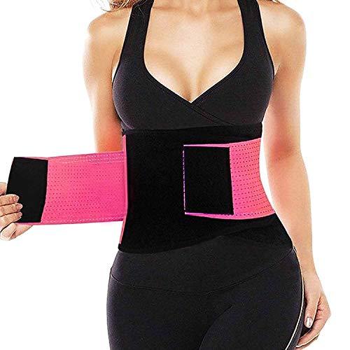 QEESMEI Waist Trainer Belt - Waist Cincher Trimmer - Slimming Body Shaper Belt - Sport Girdle Belt Pink