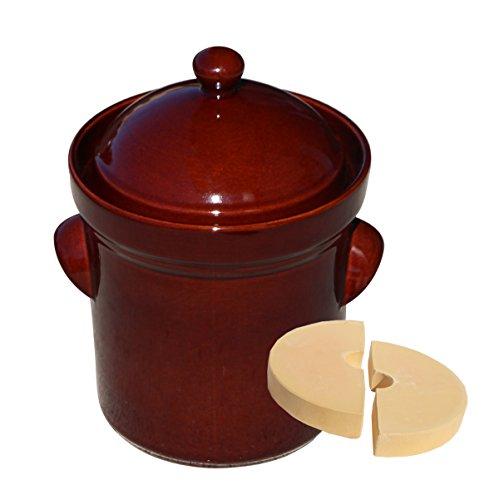 Boleslawiec Polish Pottery 5 Liter / 21 Cups Fermenting Crock Pot Pressing Stones Included