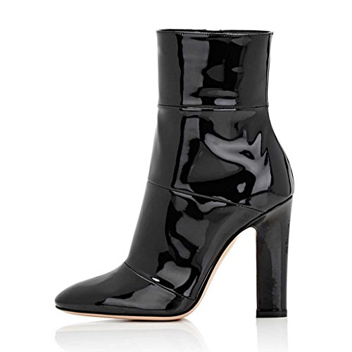 Women FSJ Black 4 Zipper Fashion 15 Side Pointed Ankle Heel US Shoes Chunky Boots Toe Size trZt0nqH7