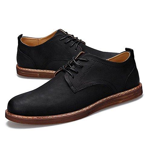 TAOFFEN Men UP Shoes Footwear Black Casual Derby lace BFwBrdHzq