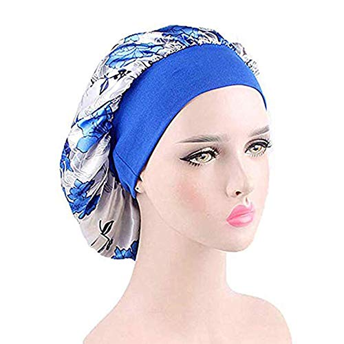 Silk Wide Band Bonnet Night Sleep Cap Sleeping Head Cover for Women Girls (White Floral)