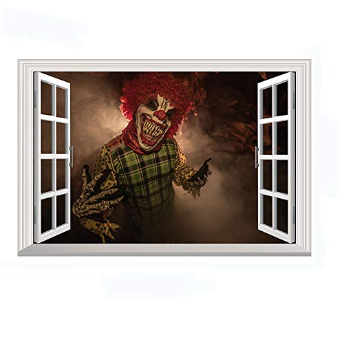 Home Find Halloween Scary Clown Window Decorations Decals 3D Fake Windows Stickers Scary Horror Wall Decals Vinyl Art Murals for Kids Rooms Nursery Halloween Party 27.6 inches x 19.7 inches -