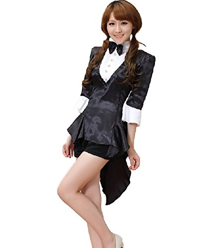 Magician Costume Women (SSJ Magician Casino Uniform Tuxedo Japanese Anime Black Jack Rio Costume (ASIA-M))