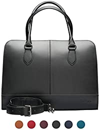 15.6 Inch Laptop Bag with Trolley Strap for Women - Split Leather - Briefcase, Handbag, Messenger Bag - Made in Italy - Black