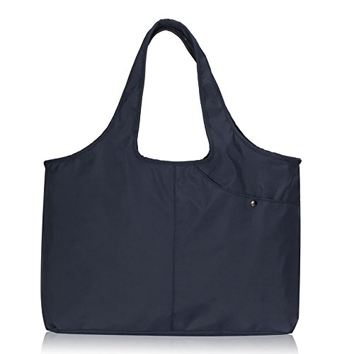 Volcanic Rock Waterproof Shoulder Shopping Bag Lightweight Totes Water-Resistant Nylon Large Capacity Purse(8045_Dark Blue) by Volcanic Rock