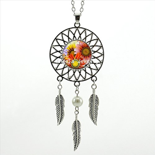 (Pretty Lee Wings Shaped Sweater Chain Sunflower Necklace Pendant Sunflower Jewelry Dream Catcher Necklace Art Photo Glass Cabochon Necklace )