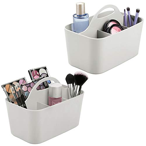 mDesign Plastic Makeup Storage Organizer Caddy Tote - Divided Basket Bin, Handle for Bathroom - Holds Eyeshadow Palettes, Nail Polish, Makeup Brushes, Shower Essentials - Small, 2 Pack - Light Gray