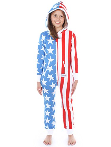 Tipsy Elves Youth USA American Flag Jumpsuit Onesie Red