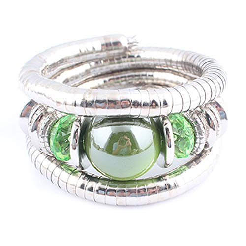 TILLY ANDERSON Tibetan Silver Snake Bracelets for Women and Men Resin Natural Stone Inlay Roundness Bead Flexible Bangles,E ()