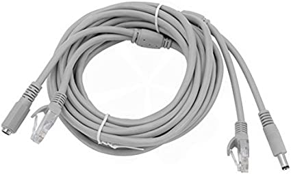 2X 5M 16ft 5.5*2.1 White DC Power Adapter Extension Cable Cord Fo CCTV IP Camera