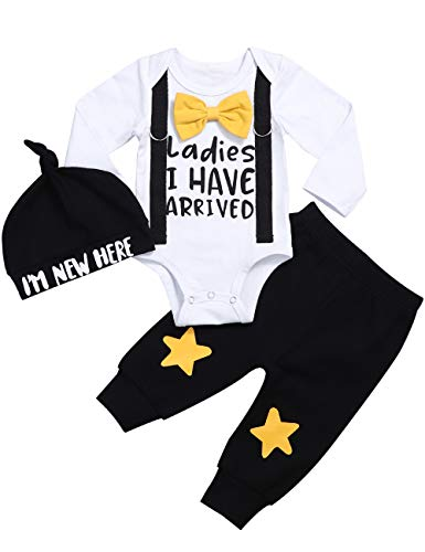Pasgeboren Baby Boy Kleding Hipster Bowtie Strap Sweatsuit Lange mouw Romper + Broek 2 Stks Outfits Set