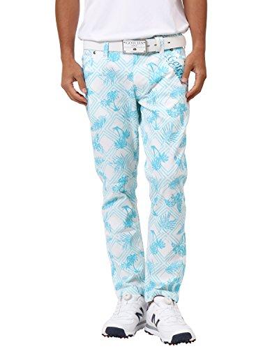 [ガッチャ ゴルフ] GOTCHA GOLF パンツ クールタッチ リゾート柄 スーパー ストレッチ パンツ 182GG1807 ホワイト Lサイズ