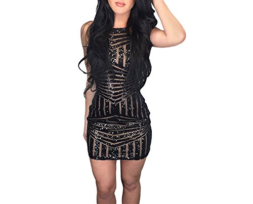 [Xuan2Xuan3 Women Sexy Sequins Spaghetti Strap Tank Bodycon Club Mini Dress Black] (Womens Black Sequin Short Dress)